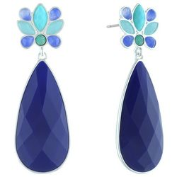 Gloria Vanderbilt Blue Multi-Faceted Teardrop Earrings