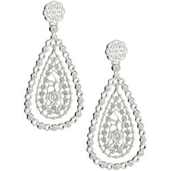 Gloria Vanderbilt Long Textured Teardrop Earrings