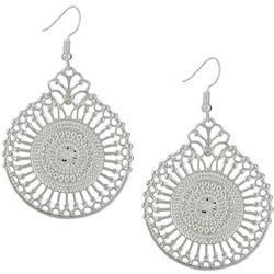 Gloria Vanderbilt Silver Tone Filigree Earrings