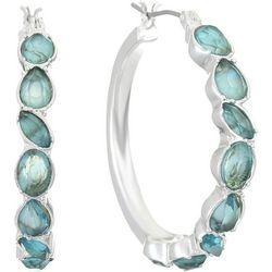 Gloria Vanderbilt Aqua Stone Click It Hoop Earring