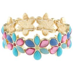 Gloria Vanderbilt Pastel Multi Flower Stretch Bracelet