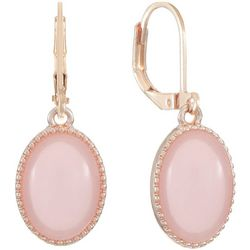 Gloria Vanderbilt Pink Rose Tone Oval Drop Earring