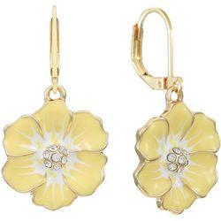 Gloria Vanderbilt Yellow Flower Leverback Earrings
