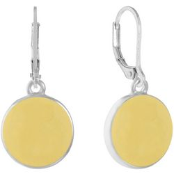 Gloria Vanderbilt Yellow Disc Leverback Earring