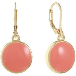 Gloria Vanderbilt Coral Disc Leverback Earrings
