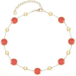 Gloria Vanderbilt Coral Enamel Collar Necklace