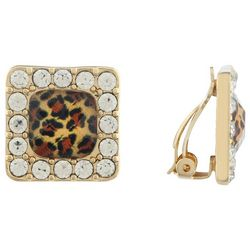 Gloria Vanderbilt Square Leopard Print Clip On Earrings