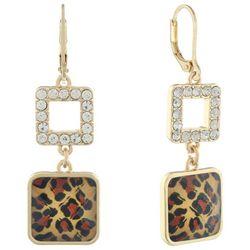 Gloria Vanderbilt Leopard Print Double Drop Earrings