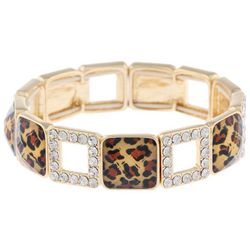 Gloria Vanderbilt Leopard Print Squares Stretch Bracelet