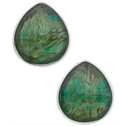 Gloria Vanderbilt Green Teardrop Clip On Earrings
