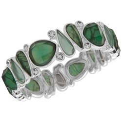 Gloria Vanderbilt Green & Silver Tone Multi Stretch Bracelet