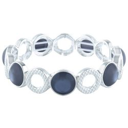 Gloria Vanderbilt Grey Stones & Rings Stretch Bracelet