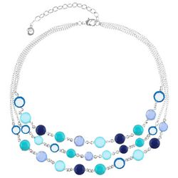 Gloria Vanderbilt 3 Row Blue Stones Channel Necklace