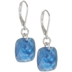 Gloria Vanderbilt Blue Square Dangle Earrings