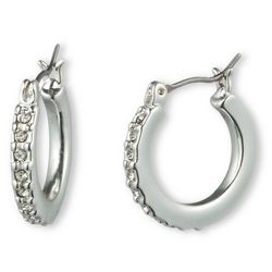 Gloria Vanderbilt Silver Tone Pave Hoop Earrings