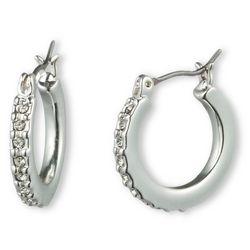 Gloria Vanderbilt Silver Tone Pave Hoop Earrings