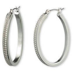 Gloria Vanderbilt Textured Silver Tone Earrings