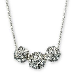 Gloria Vanderbilt Rhinestone Pave Balls Necklace