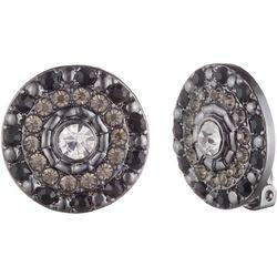 Gloria Vanderbilt Hematite & Crystal Clip Earrings