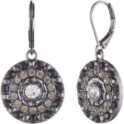Gloria Vanderbilt Hematite & Jet Disc Drop Earring