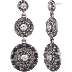 Gloria Vanderbilt Triple Disc Crystal Earrings