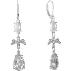 Gloria Vanderbilt Pearl & Facet Teardrop Earrings
