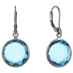 Gloria Vanderbilt Channel Bead Aqua Blue Drop Earrings