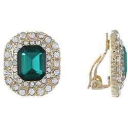 Gloria Vanderbilt Emerald Rhinestone Clip Earring
