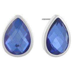 Gloria Vanderbilt Blue Teardrop Silver Tone Stud Earrings