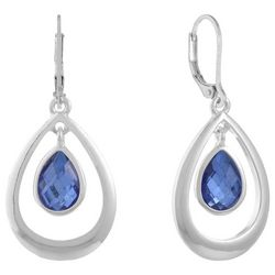 Gloria Vanderbilt Blue Stone Open Teardrop Hoop Earrings