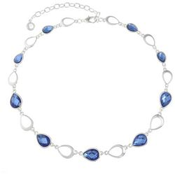 Gloria Vanderbilt Blue Teardrop Chain Link Necklace