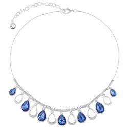 Gloria Vanderbilt Blue Stone Teardrop Front Necklace