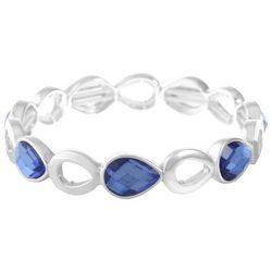 Gloria Vanderbilt Silver Tone Blue Stone Stretch Bracelet