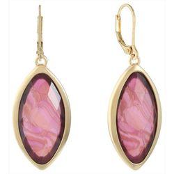 Gloria Vanderbilt Gold Tone Abalone Shell Dangle Earrings