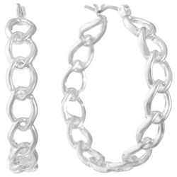 Gloria Vanderbilt Silver Tone Chain Link Hoop Earrings