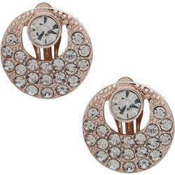 Gloria Vanderbilt Crystal&Rose Round Clip Earring