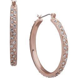 Gloria Vanderbilt Crystal & Rose Hoop Earrings