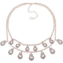 Gloria Vanderbilt Rose & Rhinestone Shaky Necklace
