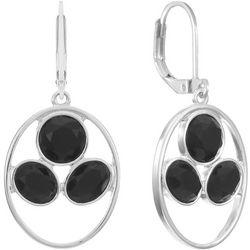 Gloria Vanderbilt Black Facet Oval Drop Earrings