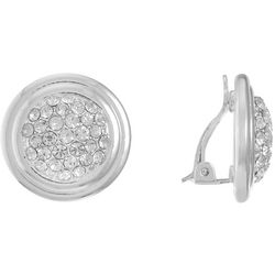 Gloria Vanderbilt Pave Rhinestone Button Clip On Earrings
