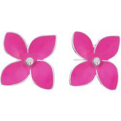 Gloria Vanderbilt Pink Flower Rhinestone Stud Earrings