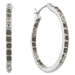 Gloria Vanderbilt Rhinestones Silver Tone Hoop Earrings