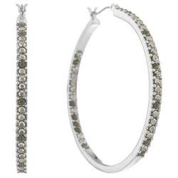 Gloria Vanderbilt 2'' Rhinestones Silver Tone Hoop Earrings