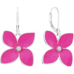 Gloria Vanderbilt Pink Flowers Dangle Earrings