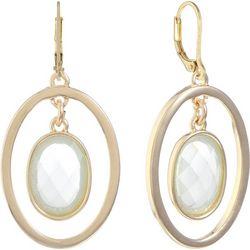 Gloria Vanderbilt Gold Tone Oval Hoop & Stone Earrings
