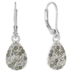 Gloria Vanderbilt Silver Tone Rhinestone Teardrop Earrings