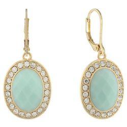 Gloria Vanderbilt Gold Tone Green Leverback Earrings