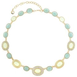 Gloria Vanderbilt Green & Gold Tone Collar Necklace