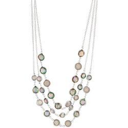 Gloria Vanderbilt Pink Multi Channel Stone Necklace