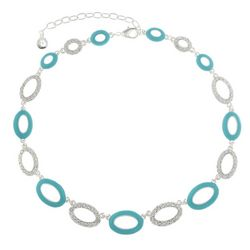Gloria Vanderbilt Green & Rhinestone Oval Link Necklace